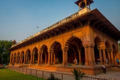 斋浦尔,印度- 2017年9月19日:美好的回教建筑学细节Diwan我是或者观众的霍尔,在里面 库存图片