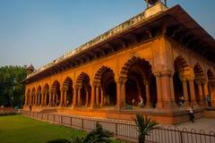 斋浦尔,印度- 2017年9月19日:美好的回教建筑学细节Diwan我是或者观众的霍尔,在里面 库存照片