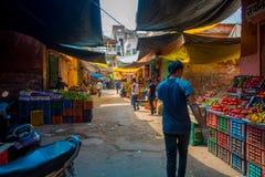 斋浦尔,印度- 2017年9月19日:走在街市上的未认出的人,卖在街道上的果子在斋浦尔 免版税库存照片