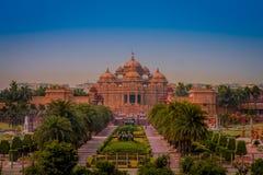斋浦尔,印度- 2017年9月19日:Akshardham寺庙在新德里,印度 Akshardham或Swaminarayan Akshardham复合体 免版税库存图片