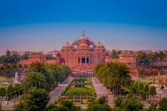 斋浦尔,印度- 2017年9月19日:Akshardham寺庙在新德里,印度 Akshardham或Swaminarayan Akshardham复合体 库存图片