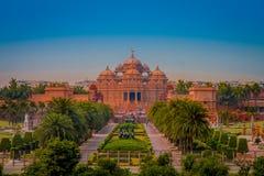 斋浦尔,印度- 2017年9月19日:Akshardham寺庙在新德里,印度 Akshardham或Swaminarayan Akshardham复合体 库存照片