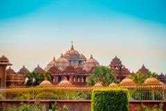 斋浦尔,印度- 2017年9月19日:Akshardham寺庙美丽的景色在新德里,印度 Akshardham复合体是a 图库摄影
