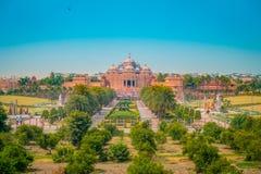 斋浦尔,印度- 2017年9月19日:Akshardham寺庙美好的风景在新德里,印度 Akshardham或 库存图片