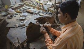 """斋浦尔,拉贾斯坦,印度†""""DEC, 2016年:印地安的珠宝商做 免版税库存图片"""