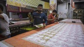 """斋浦尔,拉贾斯坦,印度†""""DEC, 2016年:Texti的木刻版印刷 免版税库存图片"""