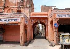 斋浦尔- `桃红色市`古老街道印度 库存图片