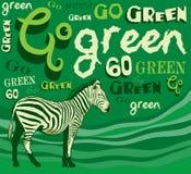 斑马。 向量例证-黏性物质绿色-保存   库存例证