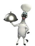 斑马与厨师帽子和钓钟形女帽的漫画人物 图库摄影