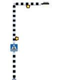 斑马线标志步行发怒机敏的警告, Belisha指引红绿灯,在蓝色,黑色白色镶边路标的标志 图库摄影