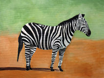 斑马,肯尼亚原始的绘画  免版税库存图片