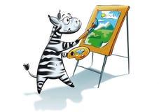 斑马绘画 免版税库存图片