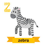 斑马 Z信件 逗人喜爱的在传染媒介的儿童动物字母表 滑稽 免版税库存图片