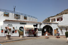 斗牛场在Mijas镇,西班牙 免版税库存图片