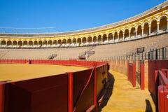 斗牛竞技场, plaza de toros在塞维利亚,西班牙 免版税库存图片