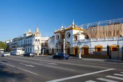 斗牛竞技场, plaza de toros在塞维利亚 图库摄影