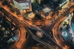斜倚在一个高修造的南京市中心-新街口 库存图片
