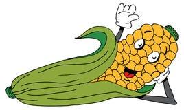 斜倚的玉米棒子动画片 免版税图库摄影