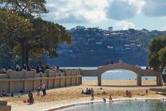 斜纹呢衬海滩,悉尼 免版税图库摄影