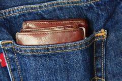 斜纹布口袋钱包 库存照片