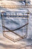 斜纹布裤子的特写镜头口袋 图库摄影