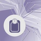 斟酌卡路里公斤在紫色抽象现代背景的体重计公斤象 线四面八方 室 皇族释放例证