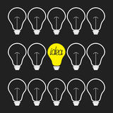 断断续续的电灯泡集合 3d概念想法图象回报了 平的设计 免版税库存照片
