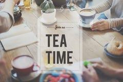 断裂茶咖啡时间放松概念 免版税库存图片