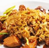 断送泰国猪肉的米 库存图片