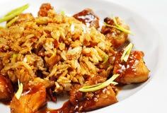 断送泰国猪肉的米 免版税库存照片