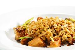 断送泰国猪肉的米 库存照片