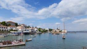 斯佩察岛海岛老港口,希腊 图库摄影