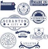 斯克兰顿市的普通邮票和标志, PA 免版税库存照片
