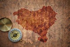 巴斯克国家地图一张老葡萄酒裂缝纸的 库存照片