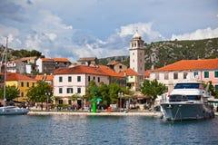 斯克拉丁是一个小古镇在克罗地亚 图库摄影
