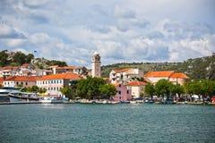 斯克拉丁是一个小古镇在克罗地亚 免版税图库摄影