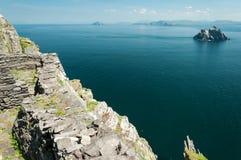 斯凯利格・迈克尔岛,联合国科教文组织世界遗产名录站点,凯利,爱尔兰 星际大战在这个海岛上唤醒场面摄制的力量 免版税库存照片