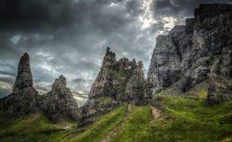 斯凯岛苏格兰HDR Storr小岛  库存照片