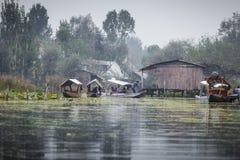 斯利那加,印度- 2013年10月17日:生活方式在Dal湖,所在地 库存照片