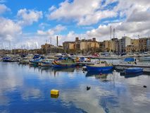 斯利马游艇小游艇船坞,马耳他 库存图片