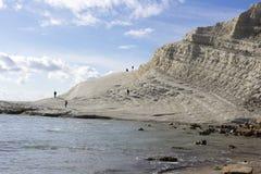 斯卡拉dei Turchi白色峭壁  库存图片