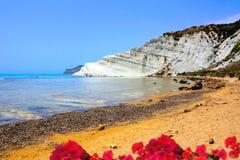 斯卡拉dei Turchi,西西里岛的白色峭壁 图库摄影