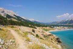 巴斯卡, Krk,克罗地亚海岛 免版税库存图片