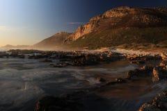 斯卡巴勒开普敦海洋山日落 图库摄影