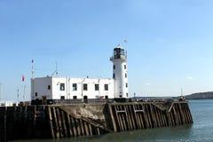 斯卡巴勒港口灯塔 免版税库存照片