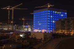 建造场所斯图加特21在晚上 库存图片