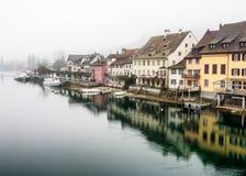 斯坦上午莱茵,瑞士镇  库存照片