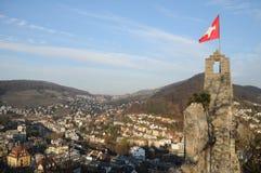 斯坦俯视Baden的城堡废墟 库存图片