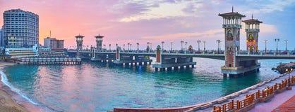 斯坦利桥梁,亚历山大,埃及全景  免版税库存图片