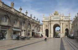 斯坦尼斯拉斯广场和弧Héré在南希 免版税库存照片